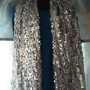 INC Silver Sequin Evening Wrap